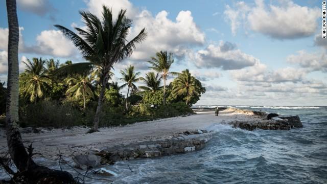 Waves pummel the coast of Temwaiku, a village on the capitol island of South Tarawa, Kiribati.