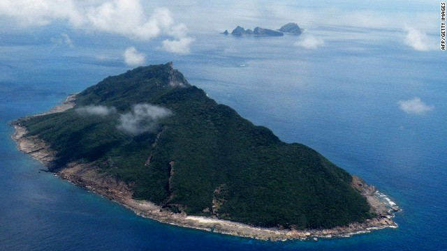 Foto udara ini diambil pada 15 September 2010 menunjukkan pulau-pulau yang disengketakan yang dikenal sebagai Senkaku di Jepang dan Diaoyu di Cina di Laut Cina Timur.