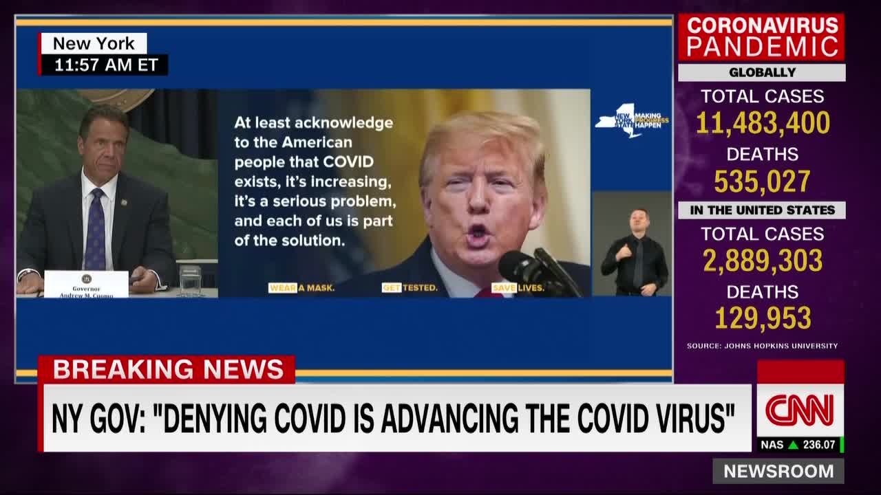 "Presiden Trump ""mengaktifkan virus,"" kata gubernur New York"