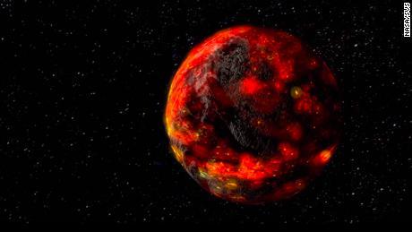 Ilustrasi dari NASA ini menggambarkan bulan saat meleleh di awal sejarahnya.