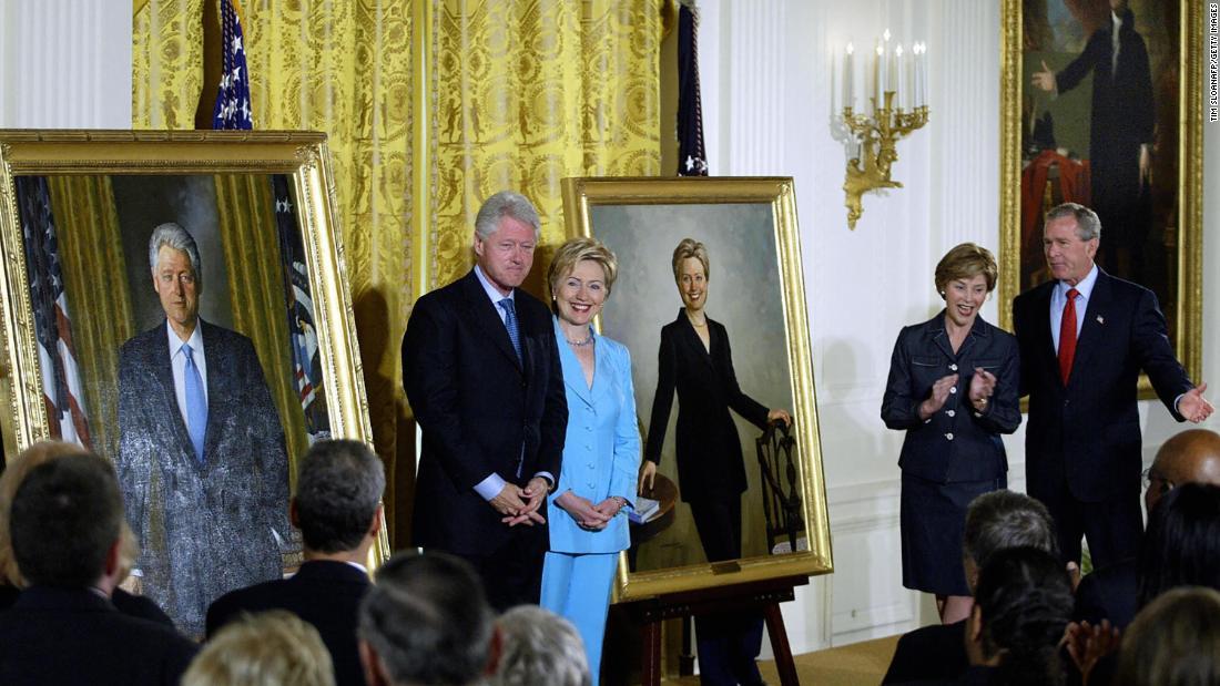 Potret Gedung Putih dari Bill Clinton dan George W. Bush pindah dari ruang yang menonjol ke ruang yang jarang digunakan
