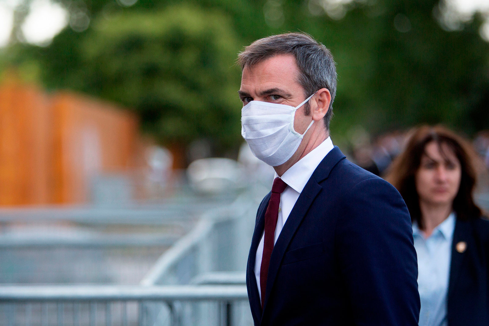 French Health Minister Olivier Veran arrives at the Grand Palais prior to a reception gathering 800 medical staff that helped during the novel coronavirus crisis in Paris, on July 13.