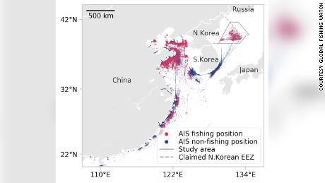 Grafik dari Global Fishing Watch ini menunjukkan lokasi yang disiarkan oleh semua kapal yang diidentifikasi sebagai kapal penangkap ikan yang kemungkinan berlayar di dalam zona ekonomi eksklusif Korea Utara yang diklaim selama 2017 dan 2018.