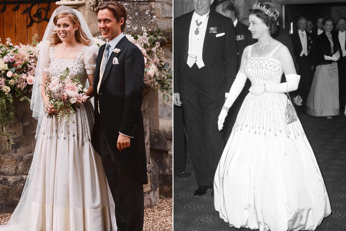 Putri Beatrice mengenakan pakaian dan tiara Ratu Elizabeth untuk pernikahan pribadi