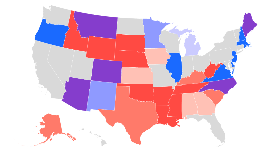 State map of the United States, projecting outlook for Senate elections for November 2020