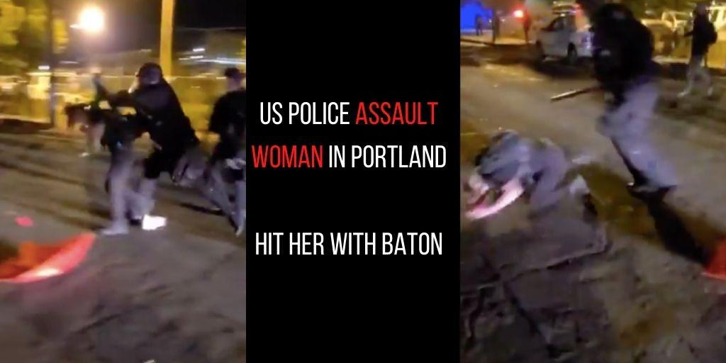 Woman brutally assaulted, hit with baton by US police in Portland: Watch