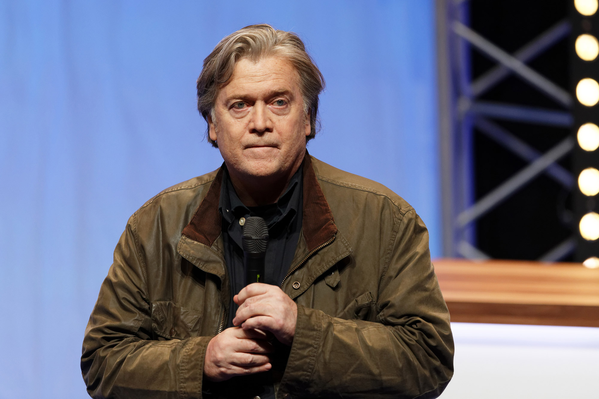 Former US President advisor Steve Bannon delivers a speech during the Front National party annual congress on March 10, 2018 in Lille, France.