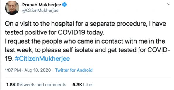 Pranab Mukherjee tweet