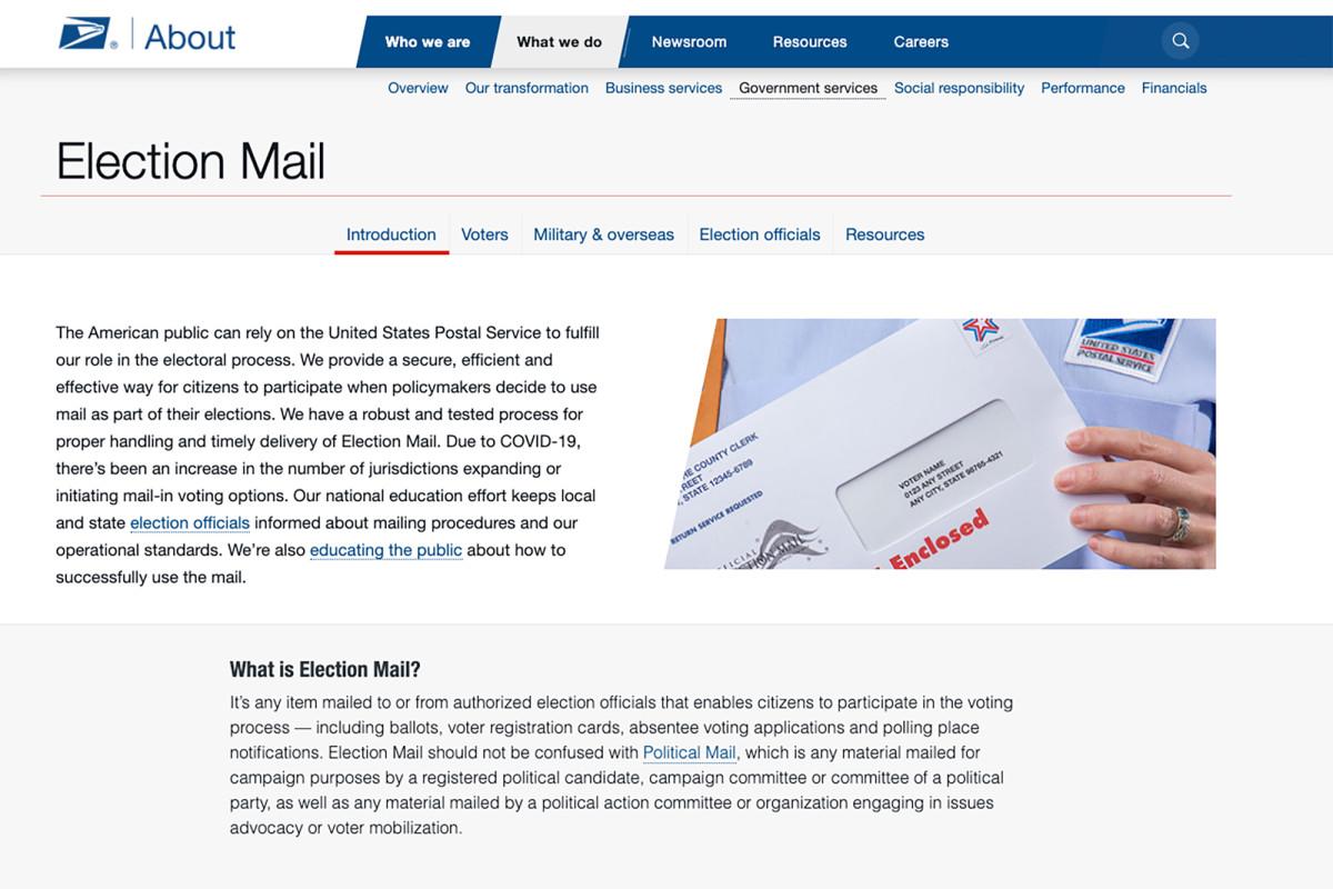 USPS meluncurkan situs web baru untuk membantu orang Amerika memberikan suara melalui surat